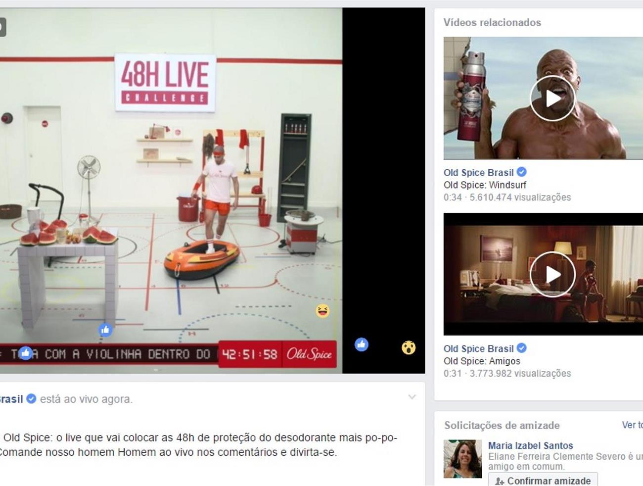 Ação de live promove Old Spice 48 horas no Facebook